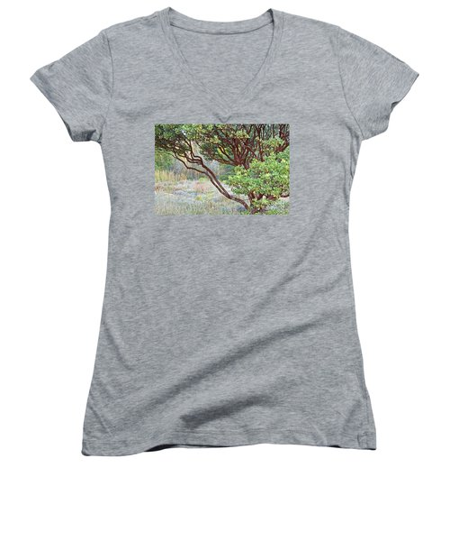 Women's V-Neck T-Shirt (Junior Cut) featuring the photograph Arctostaphylos Hybrid by Kate Brown