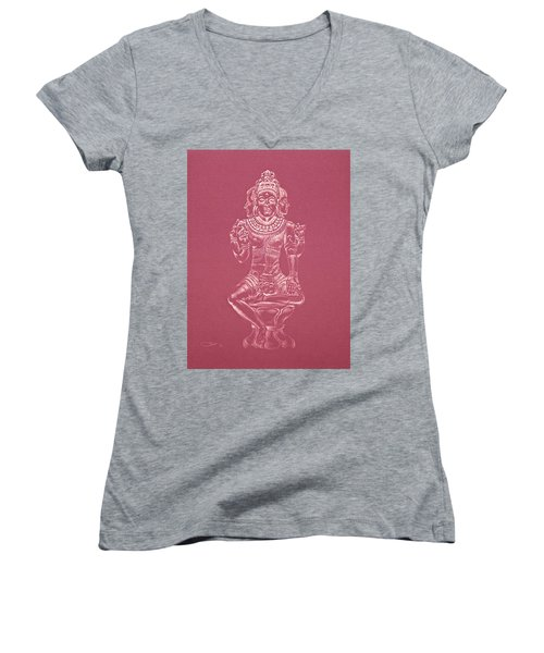Women's V-Neck T-Shirt (Junior Cut) featuring the drawing Ardhanarishvara II by Michele Myers