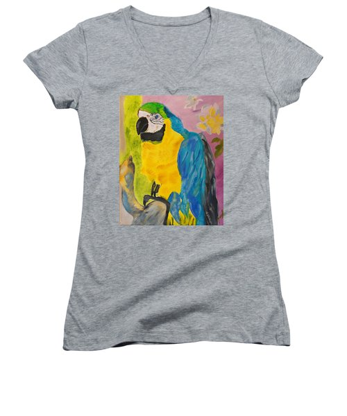 Women's V-Neck T-Shirt (Junior Cut) featuring the painting Aren't I Beautiful? by Meryl Goudey