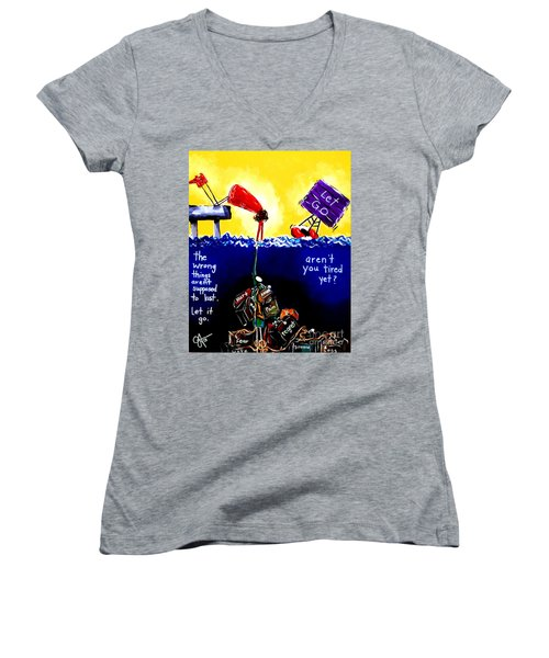 Women's V-Neck T-Shirt (Junior Cut) featuring the painting Aren't You Tired Yet? by Jackie Carpenter
