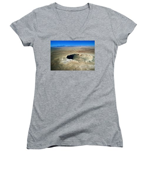 Arizona Meteor Crater Women's V-Neck T-Shirt (Junior Cut) by Pg Reproductions