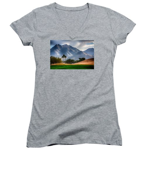 Arizona Sunrise Golfing Women's V-Neck (Athletic Fit)
