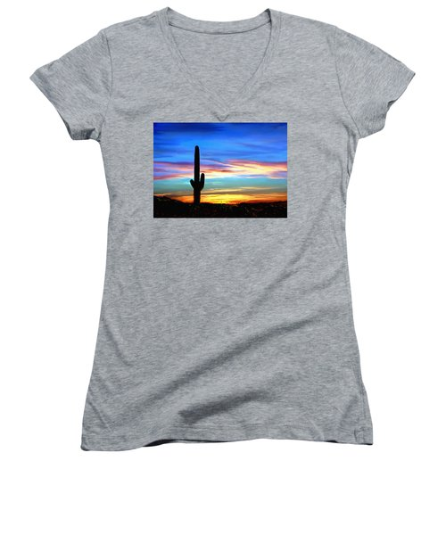 Arizona Sunset Saguaro National Park Women's V-Neck