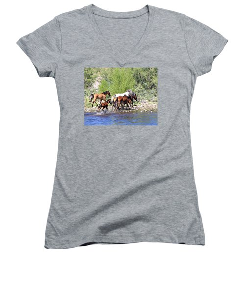 Arizona Wild Horse Family Women's V-Neck (Athletic Fit)