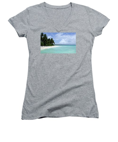 Women's V-Neck T-Shirt (Junior Cut) featuring the photograph Arno Island by Andrea Anderegg
