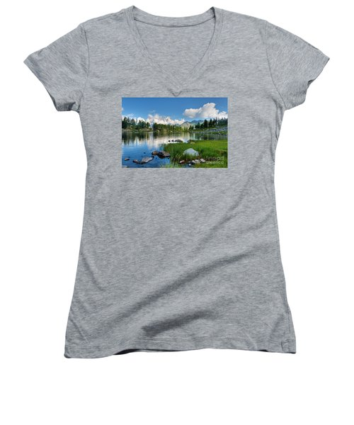 Women's V-Neck T-Shirt (Junior Cut) featuring the photograph Arpy Lake - Aosta Valley by Antonio Scarpi