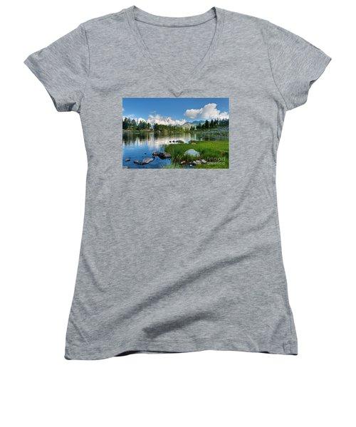 Arpy Lake - Aosta Valley Women's V-Neck T-Shirt (Junior Cut) by Antonio Scarpi