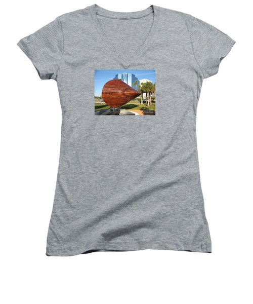 Women's V-Neck T-Shirt (Junior Cut) featuring the photograph Art 2009 At Sarasota Waterfront by Christiane Schulze Art And Photography