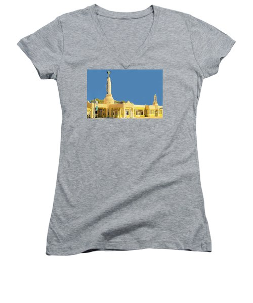 Women's V-Neck T-Shirt (Junior Cut) featuring the photograph Art Deco Gas Station by Janette Boyd