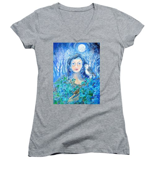 Artemis And The Wren- Women's V-Neck T-Shirt (Junior Cut) by Trudi Doyle