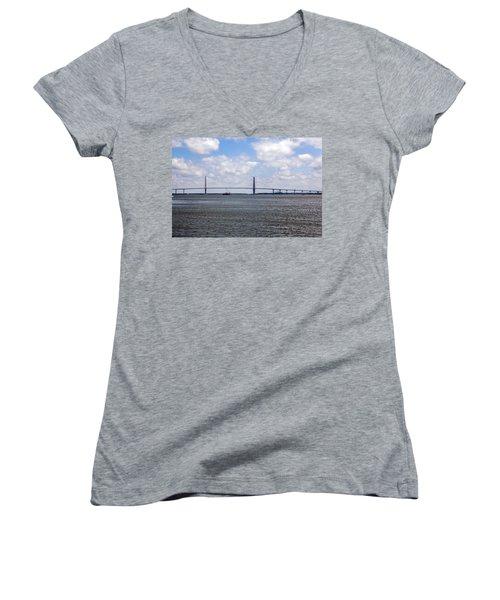 Women's V-Neck T-Shirt (Junior Cut) featuring the photograph Arthur Ravenel Bridge by Sennie Pierson