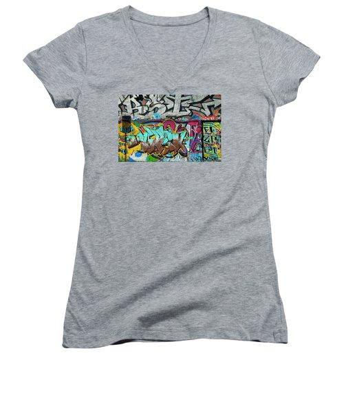 Artistic Graffiti On The U2 Wall Women's V-Neck T-Shirt
