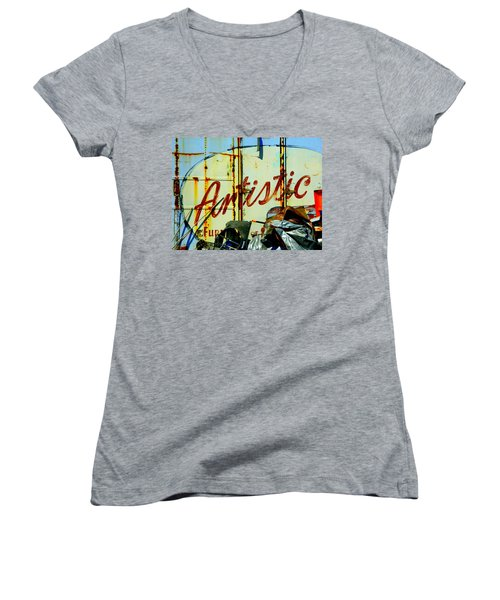 Women's V-Neck T-Shirt (Junior Cut) featuring the photograph Artistic Junk by Kathy Barney