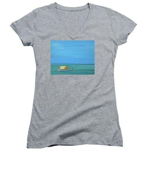 Women's V-Neck T-Shirt (Junior Cut) featuring the painting Aruba by Donna Tuten