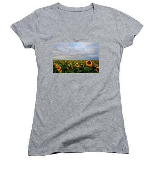 Women's V-Neck T-Shirt (Junior Cut) featuring the photograph As Far As The Eye Can See by Ronda Kimbrow