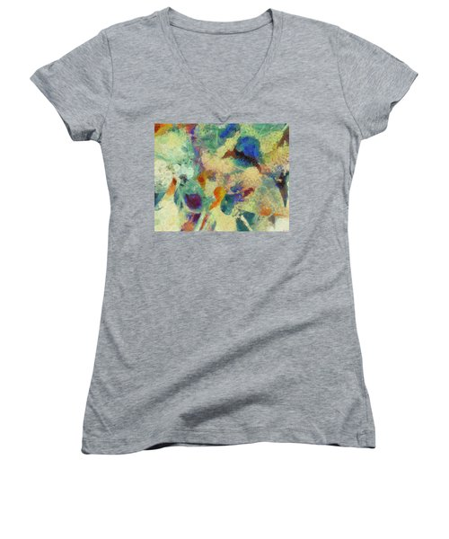 Women's V-Neck T-Shirt (Junior Cut) featuring the painting As Our Eyes Met by Joe Misrasi