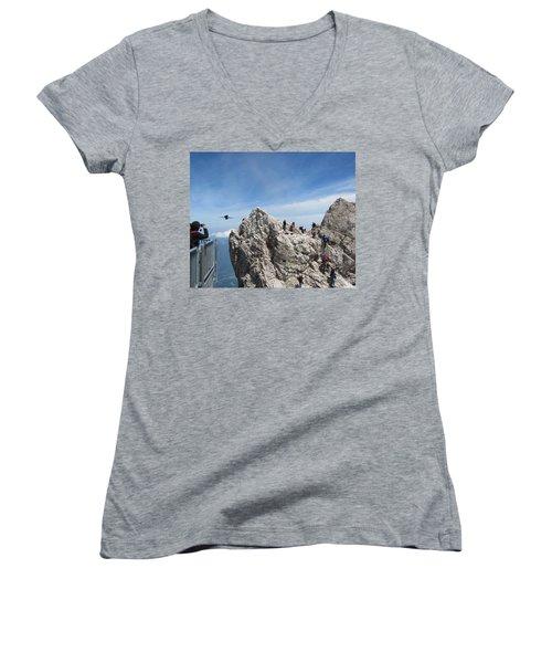Women's V-Neck T-Shirt (Junior Cut) featuring the photograph As The Crow Flies 1 by Pema Hou