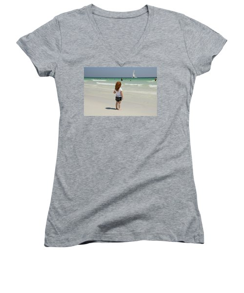As The Sail Boat Rolls By Women's V-Neck T-Shirt (Junior Cut) by Charles Beeler