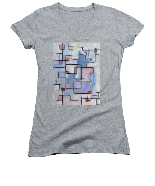 Asbtract Line Series Women's V-Neck T-Shirt (Junior Cut)