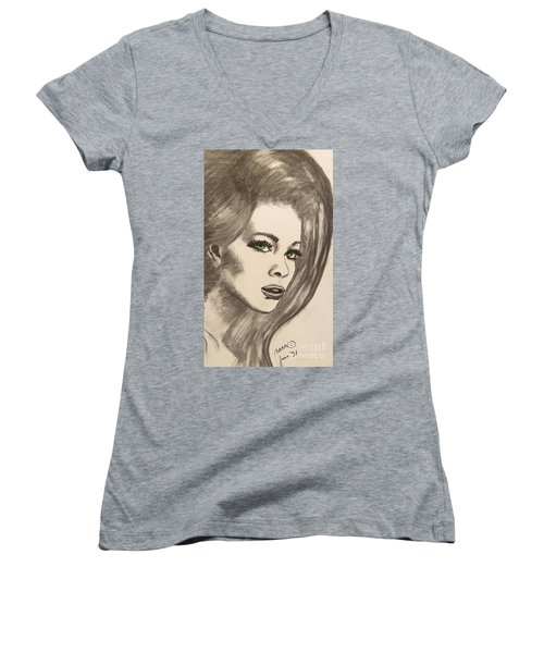 Women's V-Neck T-Shirt (Junior Cut) featuring the drawing Ashton by Marianne NANA Betts