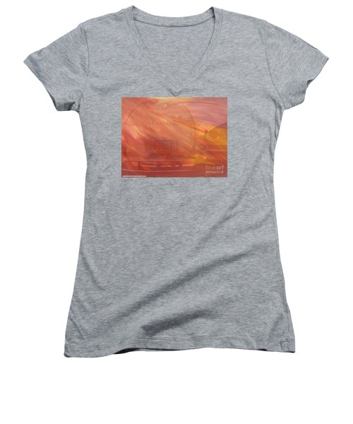 Women's V-Neck T-Shirt (Junior Cut) featuring the painting Asteroid by PainterArtist FIN