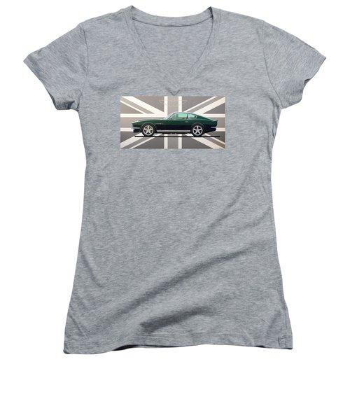Aston Martin V8 Vantage Women's V-Neck T-Shirt