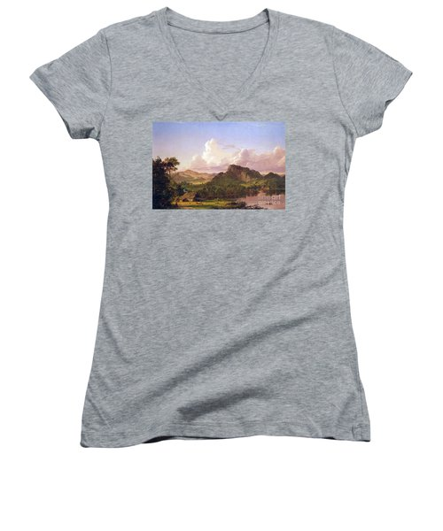 At Home On The Lake By Frederick Edwin Church Women's V-Neck T-Shirt