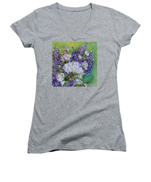 Women's V-Neck T-Shirt featuring the painting At Peg's Request by Judith Rhue