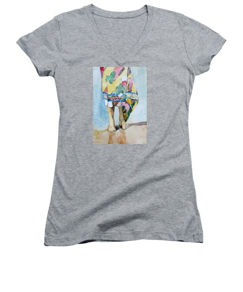 Women's V-Neck T-Shirt (Junior Cut) featuring the painting At The Beach 1  by Becky Kim