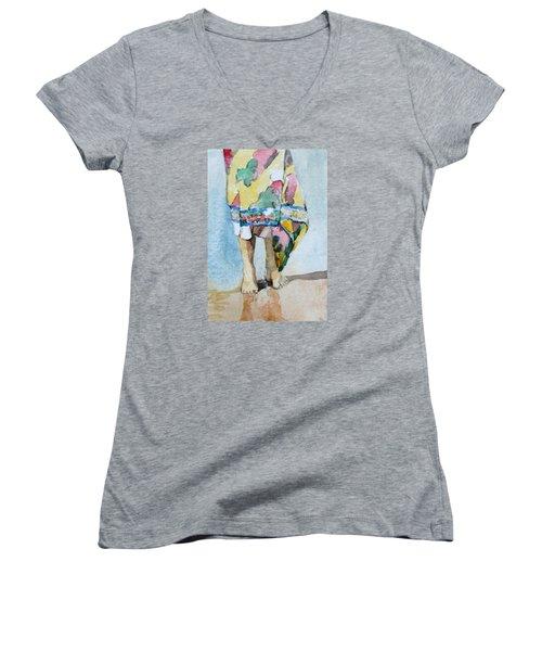 At The Beach 1  Women's V-Neck T-Shirt (Junior Cut) by Becky Kim