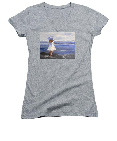At The Beach Women's V-Neck T-Shirt (Junior Cut) by Catherine Swerediuk