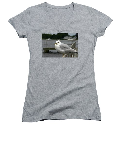 Women's V-Neck T-Shirt (Junior Cut) featuring the photograph At The Boat Landing by Denyse Duhaime