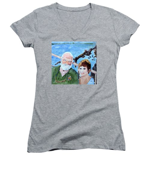 Women's V-Neck T-Shirt (Junior Cut) featuring the painting At The Dock Of The Bay by Sandy McIntire