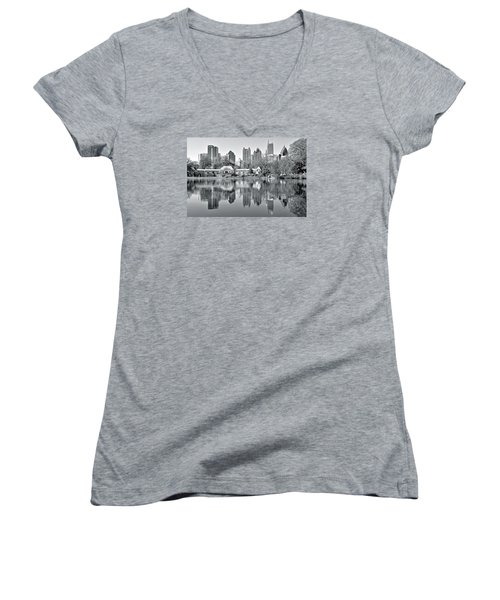 Atlanta Reflecting In Black And White Women's V-Neck T-Shirt (Junior Cut) by Frozen in Time Fine Art Photography