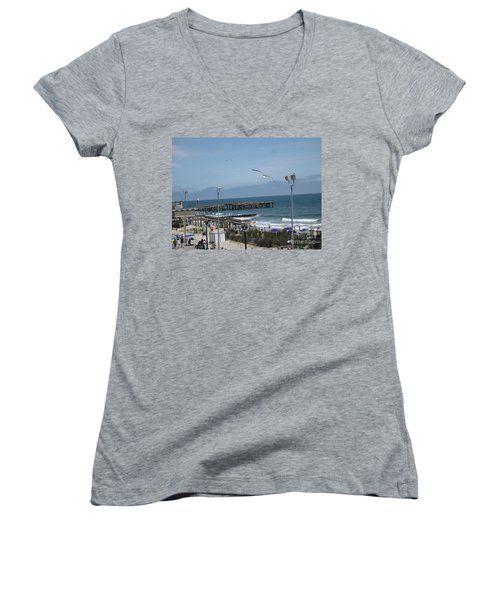 Women's V-Neck T-Shirt (Junior Cut) featuring the photograph Atlantic City 2009 by HEVi FineArt