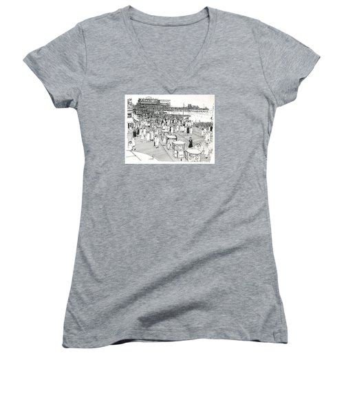 Women's V-Neck T-Shirt (Junior Cut) featuring the drawing Atlantic City Boardwalk 1940 by Ira Shander