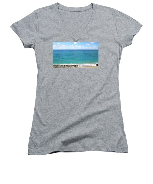 Atlantic Ocean In South Florida Women's V-Neck T-Shirt