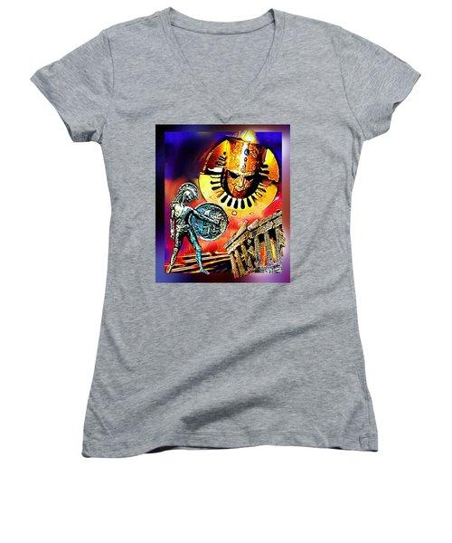 Women's V-Neck T-Shirt (Junior Cut) featuring the mixed media Atlantis - The Minoan Empire Has Fallen by Hartmut Jager