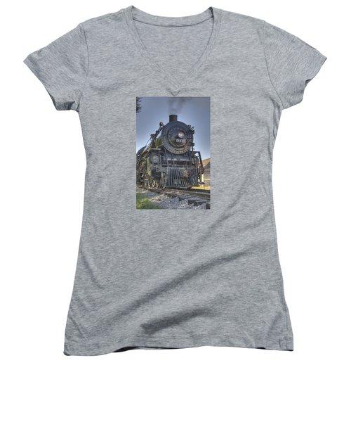 Atsf 3415 Head On Women's V-Neck T-Shirt (Junior Cut) by Shelly Gunderson