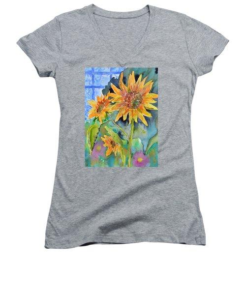 Attack Of The Killer Sunflowers Women's V-Neck