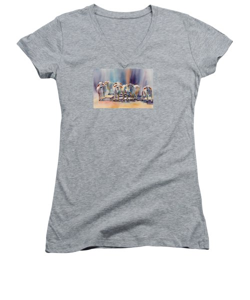 Women's V-Neck T-Shirt (Junior Cut) featuring the painting Attention All Ears.  Brahman Bulls by Roxanne Tobaison