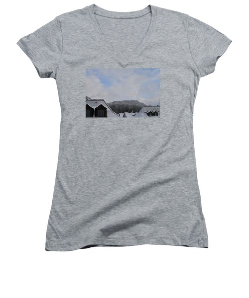 Women's V-Neck T-Shirt (Junior Cut) featuring the photograph Attic Windows Open To The Sky by Felicia Tica