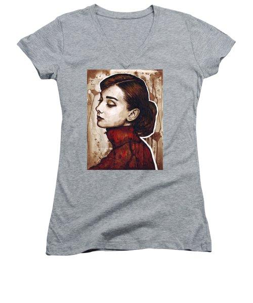 Audrey Hepburn Women's V-Neck T-Shirt (Junior Cut) by Olga Shvartsur