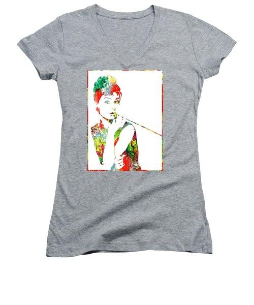 Audrey Hepburn - Watercolor Women's V-Neck