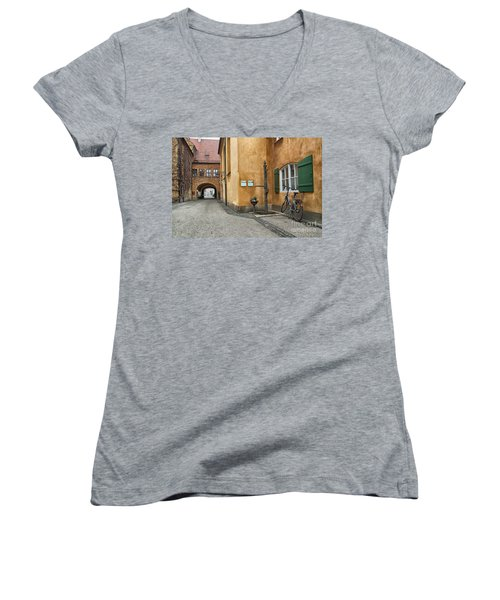 Women's V-Neck T-Shirt (Junior Cut) featuring the photograph Augsburg Germany by Paul Fearn