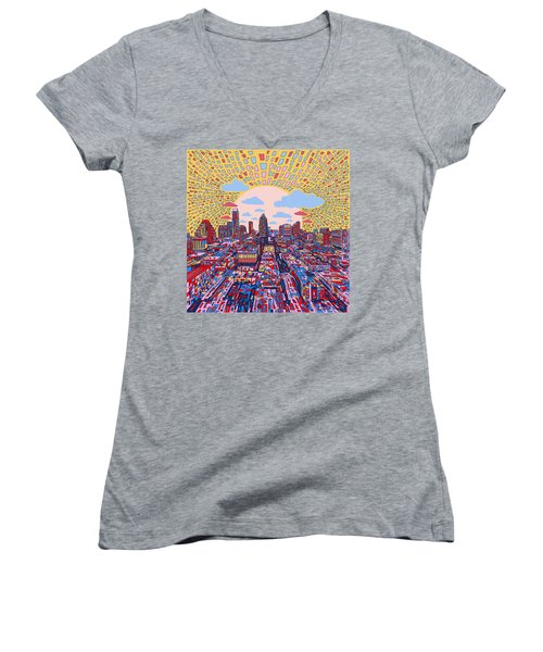 Austin Texas Abstract Panorama 2 Women's V-Neck T-Shirt (Junior Cut) by Bekim Art