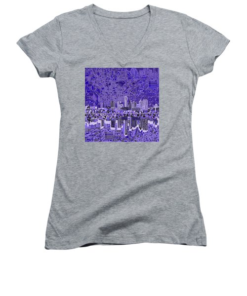 Austin Texas Skyline 4 Women's V-Neck T-Shirt (Junior Cut) by Bekim Art