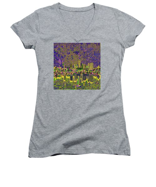 Austin Texas Skyline Women's V-Neck T-Shirt (Junior Cut) by Bekim Art