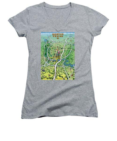 Women's V-Neck T-Shirt (Junior Cut) featuring the digital art Austin Tx Cartoon Map by Kevin Middleton