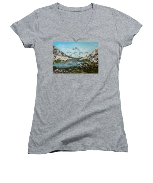 Women's V-Neck T-Shirt (Junior Cut) featuring the painting Austrian Lake by Jean Walker